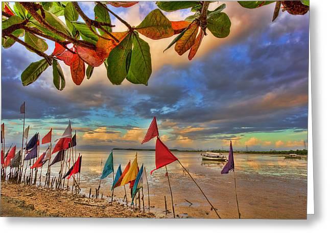 Tree Leaf On Water Digital Art Greeting Cards - Gulf of Paria Sunset Greeting Card by Nadia Sanowar