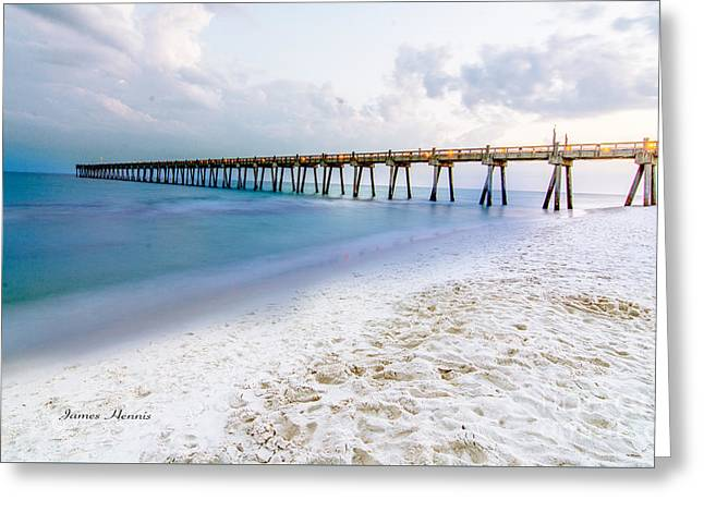 People Tapestries - Textiles Greeting Cards - Gulf Pier Greeting Card by James Hennis
