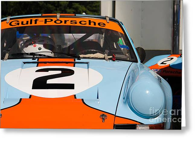 Gulf Team Greeting Cards - Gulf Porsche Greeting Card by Andrew  Cragin