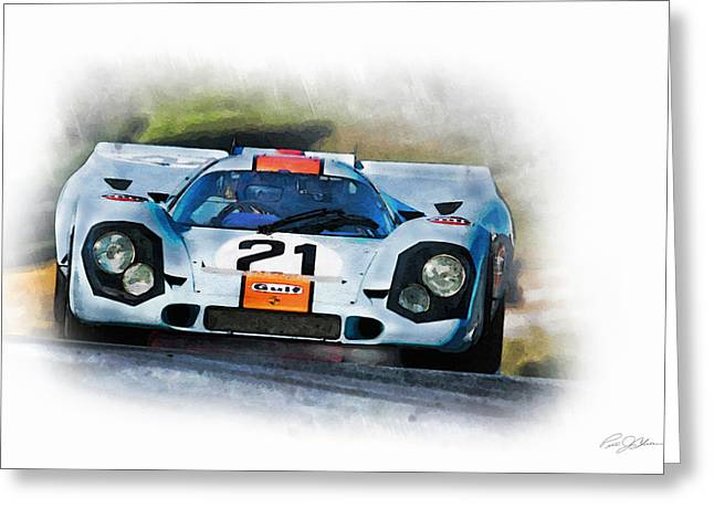 1970 Greeting Cards - Gulf Porsche Greeting Card by Peter Chilelli