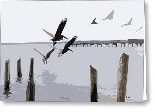 Gulf Shores Pelicans Greeting Card by Kay Sawyer