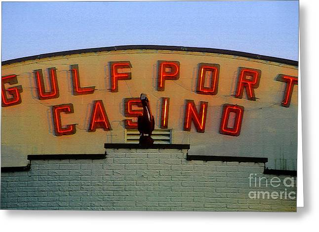 Pelican Art Greeting Cards - Gulfport Casino Greeting Card by David Lee Thompson