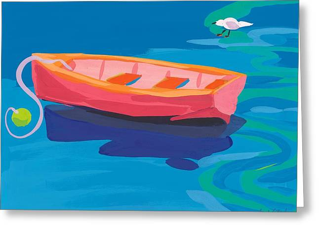 Vivid Colour Greeting Cards - Gull and Boat Greeting Card by Sarah Gillard
