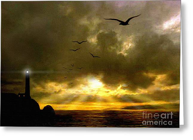 Seabirds Digital Art Greeting Cards - Gull Flight Greeting Card by Robert Foster