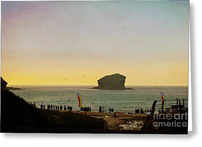 Gull Rock Portreath Cornwall, Textured Greeting Card by Terri Waters