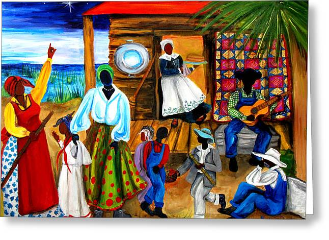 Art Quilt Greeting Cards - Gullah Christmas Greeting Card by Diane Britton Dunham