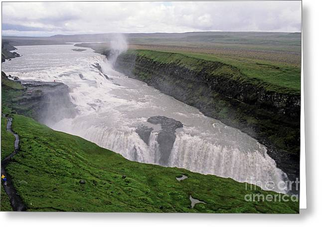 Gullfoss a powerful waterfall in the canyon of the Hvita river Greeting Card by Sami Sarkis