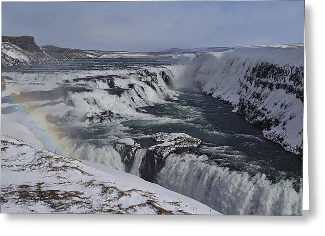 Wintry Greeting Cards - Gullfoss Iceland  Greeting Card by Mo Barton