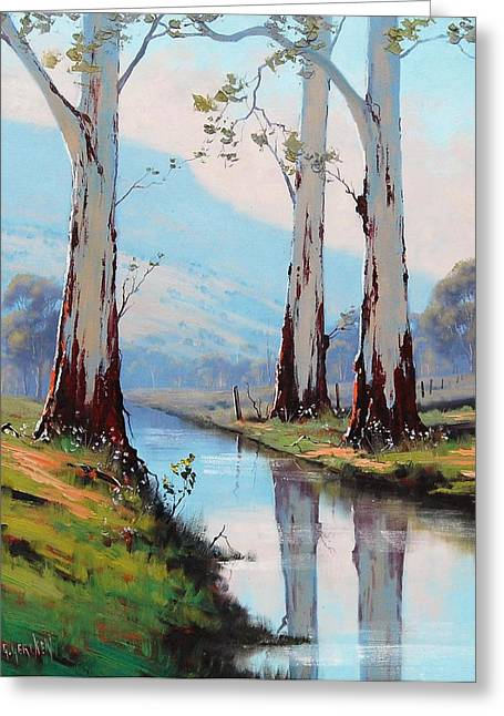 Australian Tree Greeting Cards - Gum Reflections Greeting Card by Graham Gercken