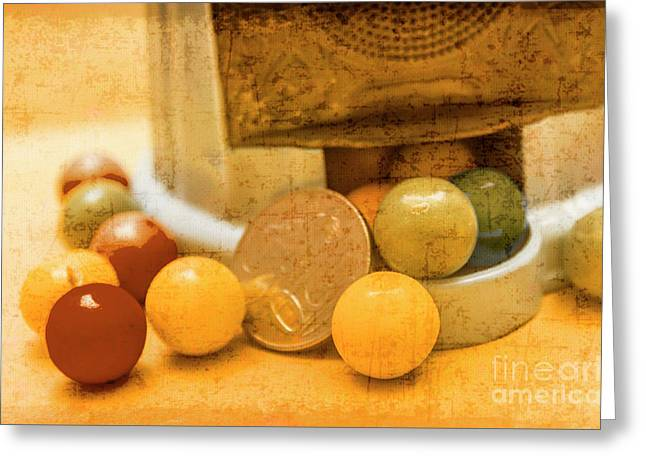 Gumballs Dispenser Antiques Greeting Card by Jorgo Photography - Wall Art Gallery
