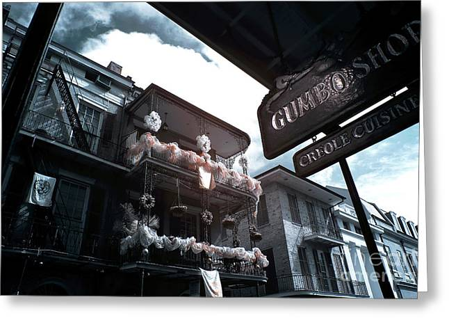 Gumbo And Mardi Gras Infrared Greeting Card by John Rizzuto