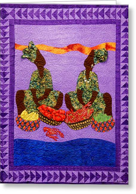 Aisha Lumumba Tapestries - Textiles Greeting Cards - Gumbo Ladies 3 Almost Got Away Greeting Card by Aisha Lumumba