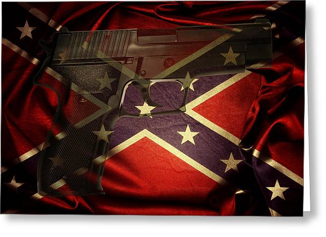 Gun And Flag Greeting Card by Les Cunliffe