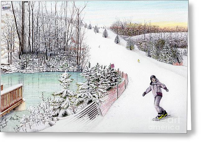Ski Painting Greeting Cards - Gunnar Slope and The Ducky Pond Greeting Card by Albert Puskaric