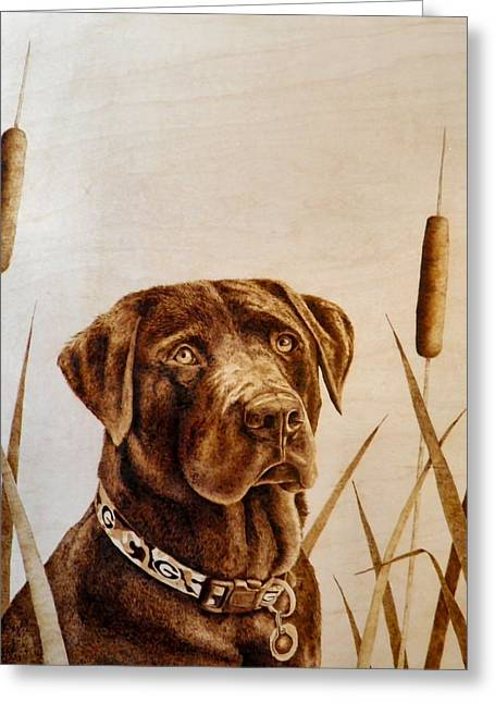 Hunting Pyrography Greeting Cards - Gunner Greeting Card by Adam Owen