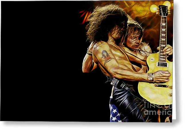 Guitar Player Mixed Media Greeting Cards - Guns N Roses Collecton Greeting Card by Marvin Blaine