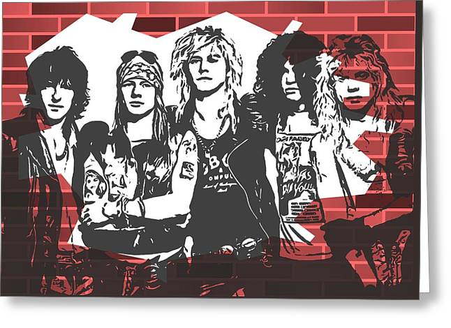 Guns N Roses Graffiti Tribute Greeting Card by Dan Sproul