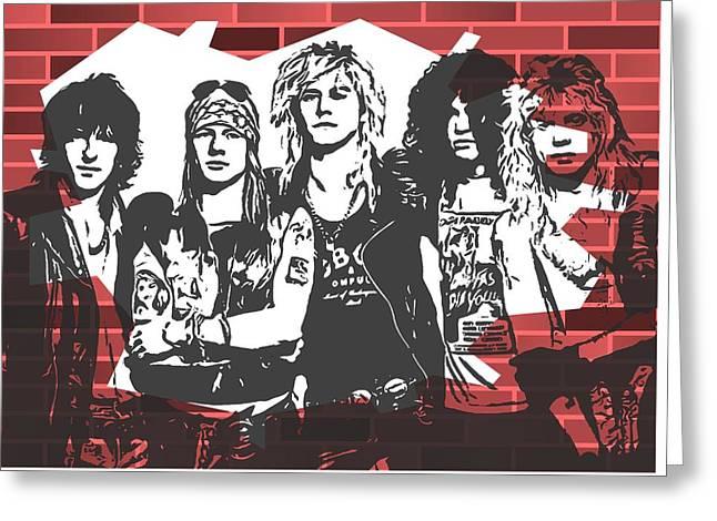 Guns N Roses Graffiti Tribute Greeting Card by Dan Sproul