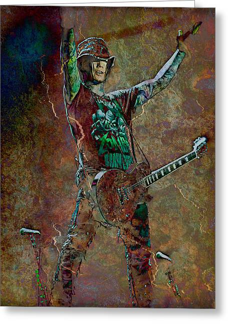 Celebrities Photographs Greeting Cards - Guns N Roses lead guitarist Dj Ashba Greeting Card by Loriental Photography