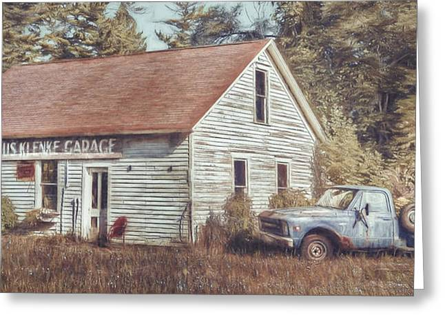 Lawn Chair Digital Greeting Cards - Gus Klenke Garage Greeting Card by Scott Norris