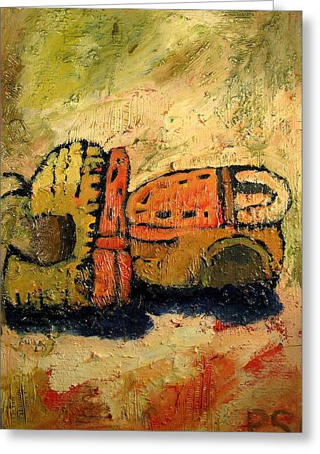 Van Gogh Influence Greeting Cards - Gustons Shoes after Van Goghs Shoes Greeting Card by Charlie Spear