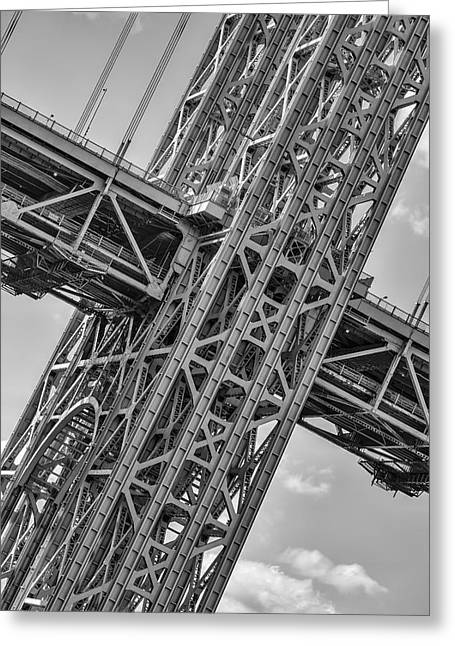 Landmark Greeting Cards - GWB Double Decked Suspension Greeting Card by Susan Candelario