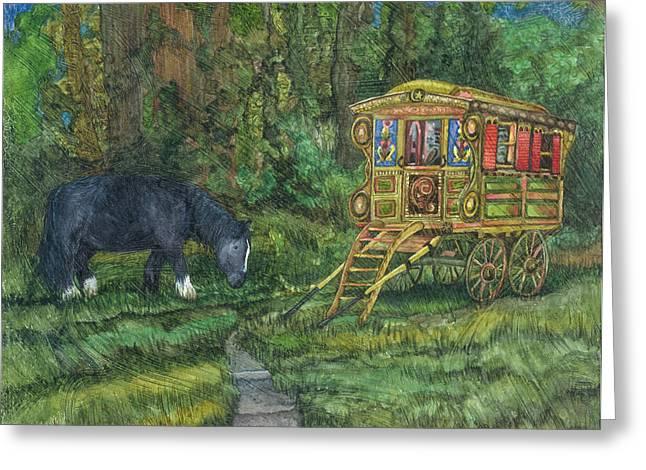 Gwendolyn's Wagon Greeting Card by Casey Rasmussen White