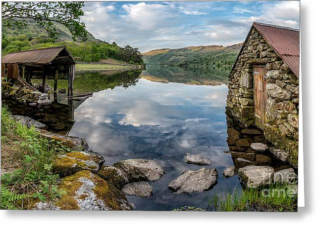 Evening Scenes Greeting Cards - Gwynant Lake Boat House Greeting Card by Adrian Evans