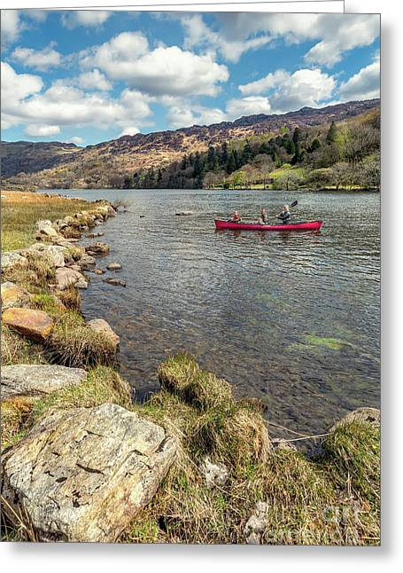 Gwynant Lake Canoeing Greeting Card by Adrian Evans