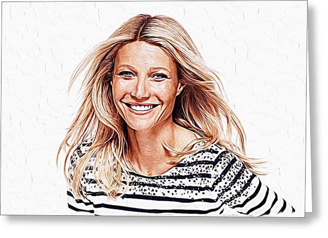 Cate Blanchett Greeting Cards - Gwyneth Paltrow Greeting Card by Queso Espinosa
