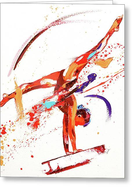 Gymnast One Greeting Card by Penny Warden