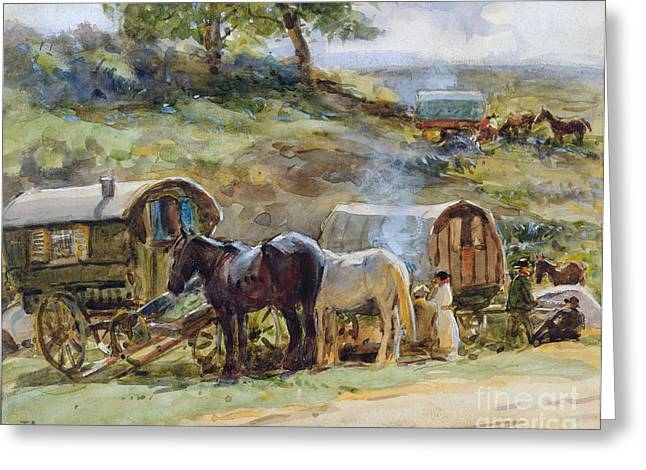 Gypsy Paintings Greeting Cards - Gypsy Encampment Greeting Card by John Atkinson