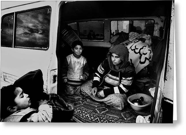 Documentary Photographs Greeting Cards - Gypsy Family Greeting Card by Sahin Avci