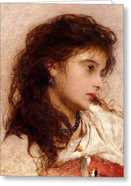 Black Pearls Greeting Cards - Gypsy Girl Greeting Card by George Elgar Hicks