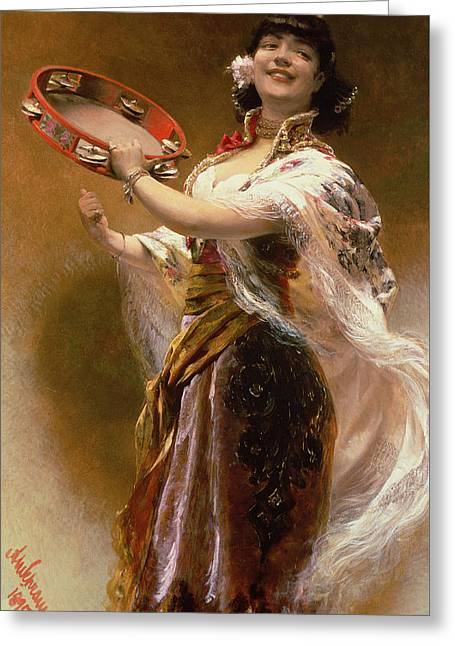 Gypsy Girl With A Tambourine Greeting Card by Alois Hans Schram