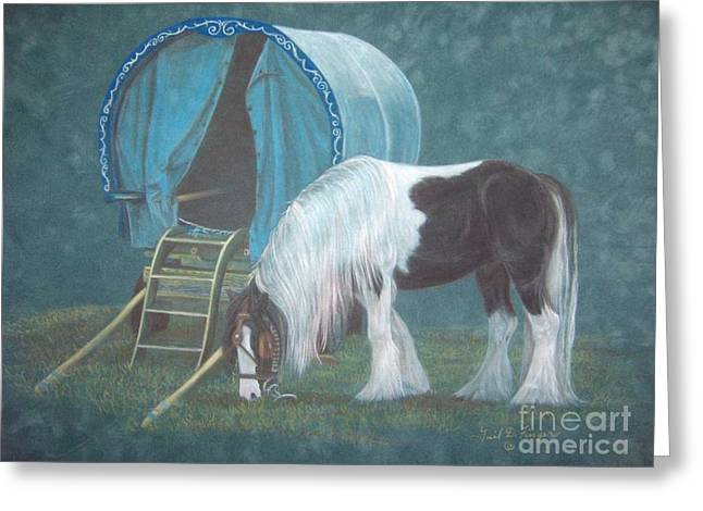 Wagon Pastels Greeting Cards - Gypsy Horse and Wagon Greeting Card by Gail Finger