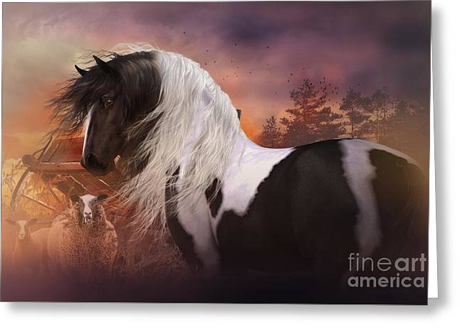 Gypsy Vanner Horse Greeting Cards - Gypsy on the Farm Greeting Card by Shanina Conway