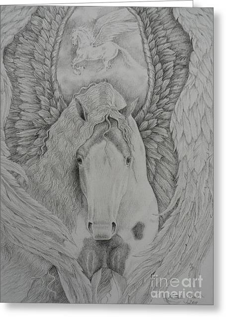 Cob Drawings Greeting Cards - Gypsy Pegasus Greeting Card by Louise Green