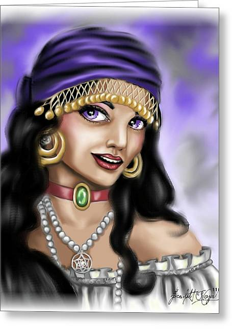Gold Earrings Digital Greeting Cards - Gypsy Greeting Card by Scarlett Royal