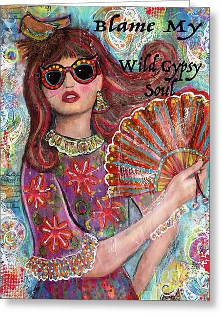 Gypsy Mixed Media Greeting Cards - Gypsy Soul Greeting Card by Martina Schmidt