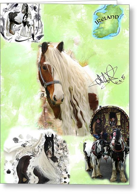 Gypsy Greeting Cards - Gypsy Vanner Collage Greeting Card by Donald Pavlica
