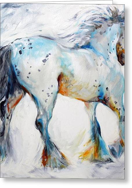Cobb Greeting Cards - Gypsy Vanner Motion Paint Sketch Greeting Card by Marcia Baldwin
