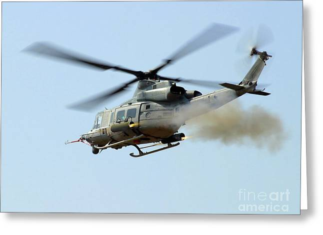 Rotary Wing Aircraft Greeting Cards - H-1 Upgrades Test Pilot, Launches Greeting Card by Stocktrek Images