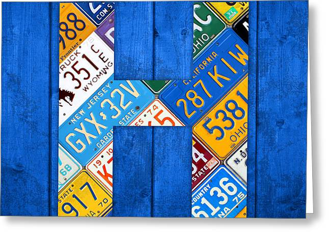 Background Mixed Media Greeting Cards - H License Plate Letter Art Blue Background Greeting Card by Design Turnpike