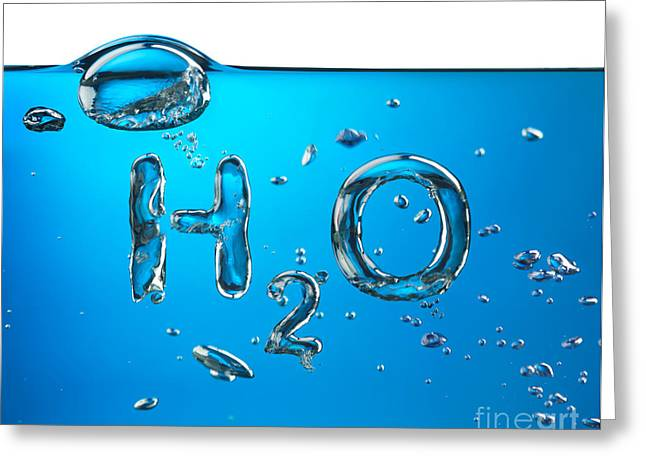Colored Bubles Greeting Cards - H2O Formula Made by Oxygen Bubbles in Water Greeting Card by Oleksiy Maksymenko