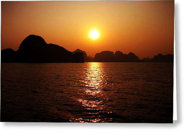 Hysterie Of Art Greeting Cards - Ha Long Bay Sunset Greeting Card by Oliver Johnston