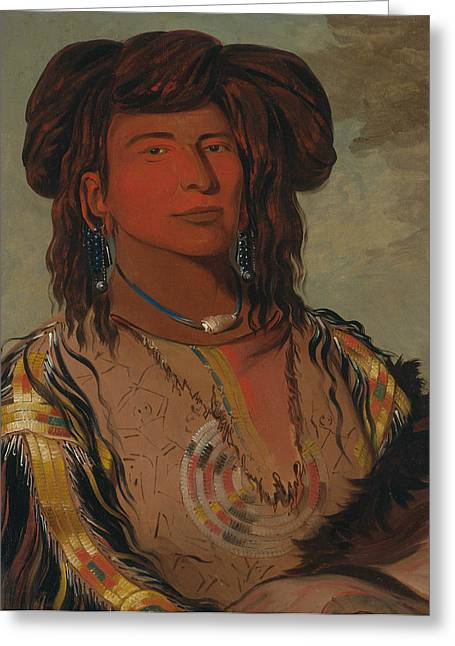 Ha-won-je-tah, One Horn, Head Chief Of The Miniconjou Tribe Greeting Card by George Catlin