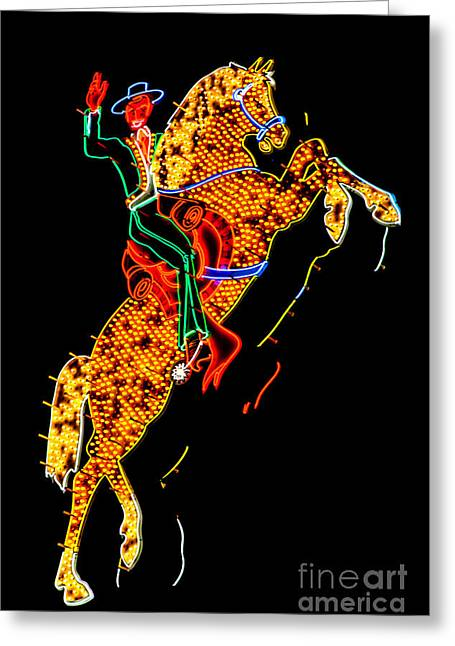Las Vegas Greeting Cards - Hacienda Horse and Rider Greeting Card by Az Jackson