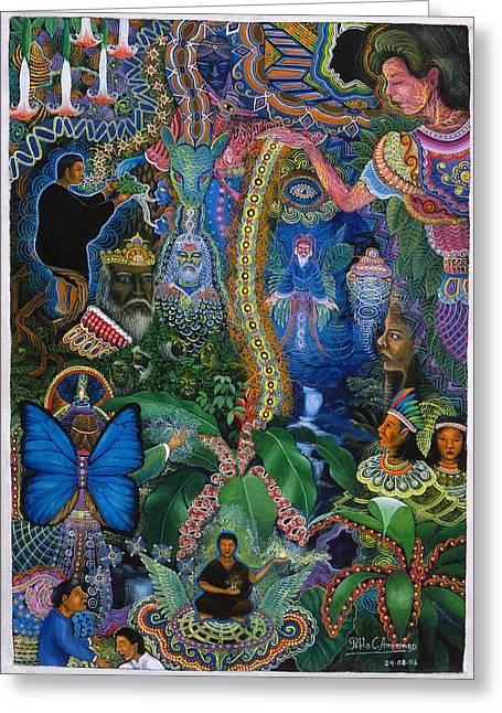 Hada De Pero Nuga Greeting Card by Pablo Amaringo