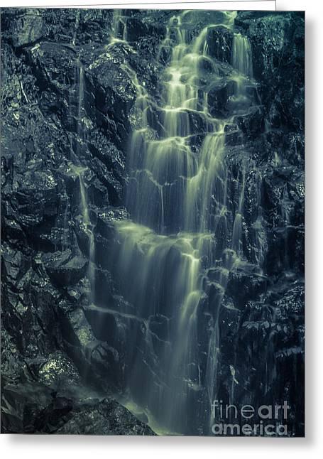 Raining Greeting Cards - Hadlock Falls in Acadia National Park - Monochrome Greeting Card by Claudia Mottram